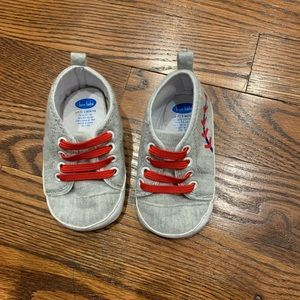 0-9 months Bon Bebe gray red baseball soft shoes